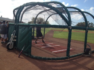 Aaron Bates taking BP