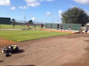 Scott Diamond, Jason Bulger, Anthony Swarzak, Liam Hendriks and Hudson Boyd throwing bullpen