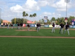 Pitchers work on pickoff moves
