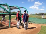 Justin Morneau talking with Tom Brunansky