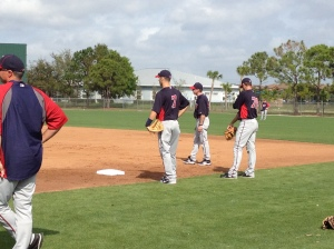 Mauer getting work in at first base
