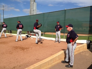 Tom Kelly & Rick Anderson watching Liriano throw