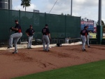 Deolis Guerra, Glen Perkins, Jeff Manship and Tyler Robertson throwing bullpen.