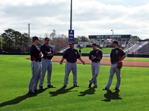 Eddie Guardado instructing Terry Doyle, Carl Pavano, Brian Duensing & Scott Diamond
