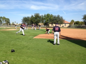 Scott Baker doing fielding drills