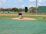 Liriano throwing to Morneau