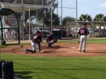 Mauer during fielding drills