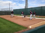 Alex Burnett, Casey Fien & Jeff Gray throwing a bullpen