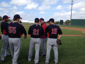 Gardenhire talking with Burnett, Capps, Marquis & Perkins