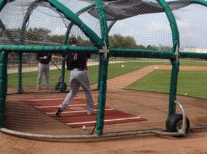 Mauer swinging during BP