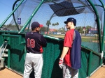 Morneau chatting with Eddie Guardado