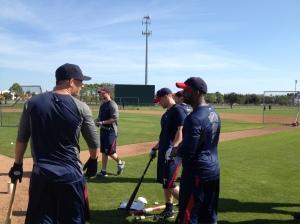 Danny Valencia chatting with Denard Span