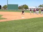 Tsuyoshi Nishioka fielding grounders at first