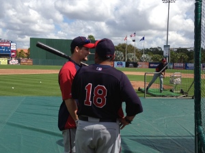 Josh Willingham talking with Eddie Guardado