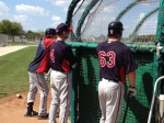 Paul Molitor talking with Trevor Plouffe and Joe Benson