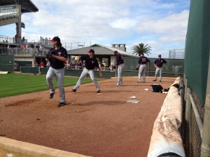 Phil Dumatrait, Aaron Thompson, Sam Deduno & Nick Blackburn throwing bullpen