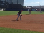 Sean Burroughs taking fielding practice