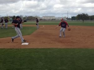 Luke Hughes playing first base