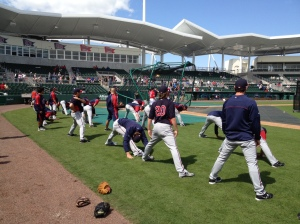 Twins stretching pregame