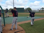 Mauer and Nishioka get ready for BP
