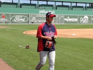 Nishioka walking onto field