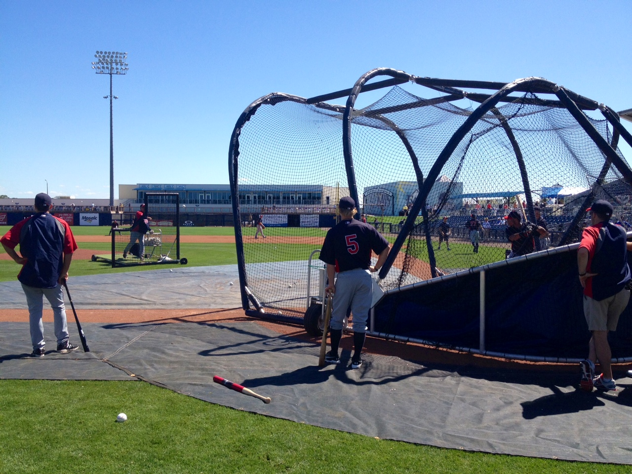 Twins taking BP on the field