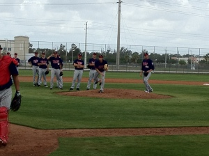Kyle Gibson participating in fielding practice