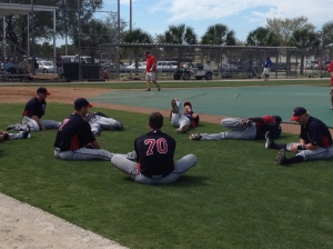 Twins players stretch