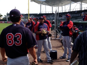 Twins get ready for warmups