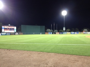 View of the outfield from the stands