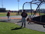 Brian Dozier waits to take BP