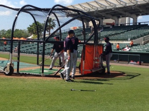 Mauer taking BP before the game