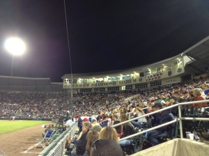 View of crowd and pressbox