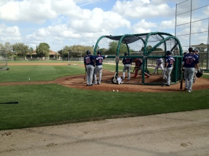 Aaron Hicks and others wait to take BP