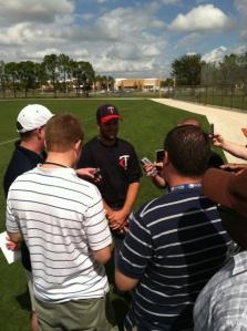 Glen Perkins talks with media (Courtesy of Mike Herman)