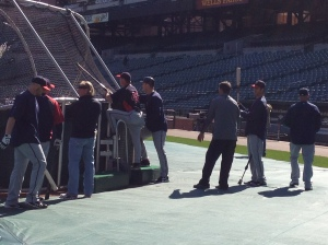Twins watching early BP