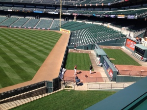 The bullpens in center field