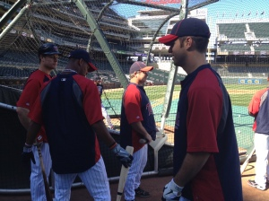 Buxton talks with Morneau, Vavra & Mauer