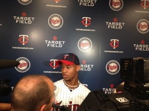 Buxton talks to media