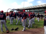 Twins players get ready to stretch