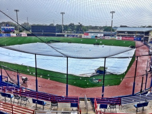 Tarp on the field before the game