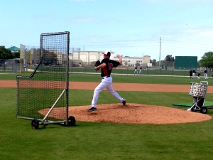 Kyle Gibson throws live batting practice