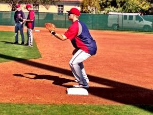 Justin Morneau taking infield practice