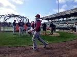 Drew Butera plays catch