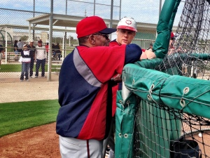 Justin Morneau chatting with HOF Rod Carew