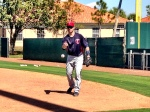 Mauer takes some grounders at first