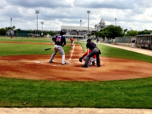 Prospect Miguel Sano at the plate