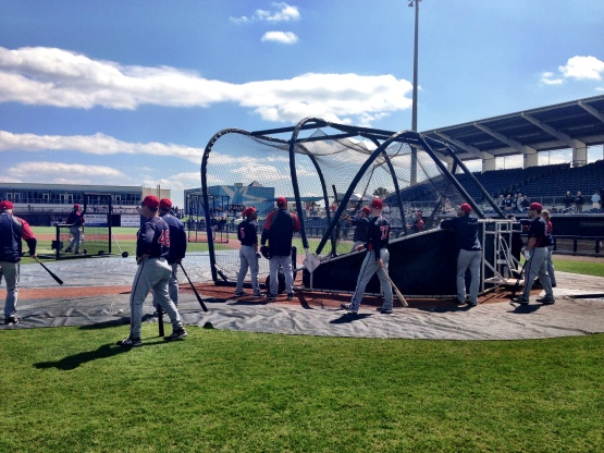 Twins taking batting practice