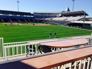 New tabletop seating in left field