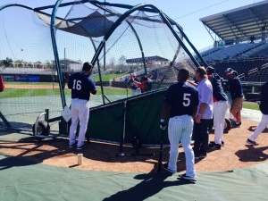 Twins take batting practice